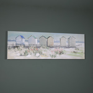 Vintage Beach Hut Scene Oil Painting Canvas