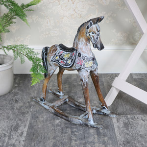 Vintage Blue Rocking Horse Ornament