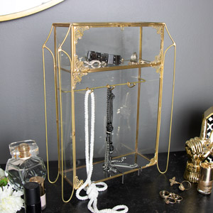 Vintage Boudoir Glass Jewellery Cabinet