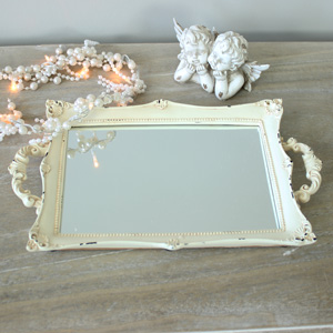 Vintage Cream Mirrored Boudoir Tray