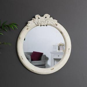 Vintage Cream Rose & Bow Wall Mirror