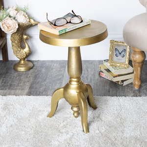 Gold Metal Round Accent Side Table