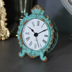 Vintage Duck Egg Blue Mantel Clock