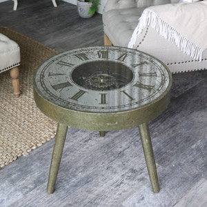 Vintage Gold working Clock Coffee Table