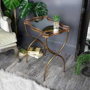 Vintage Gold Mirrored Side Table