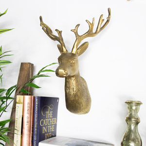 Vintage Gold Wall Mounted Reindeer Head