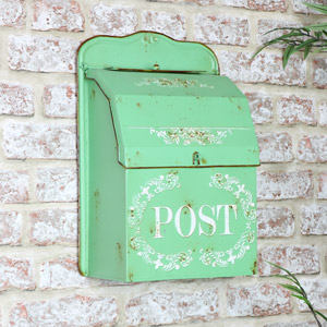 Vintage Green Wall Mounted Metal Post Box