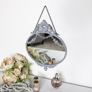 Vintage Grey Floral Wall Mirror