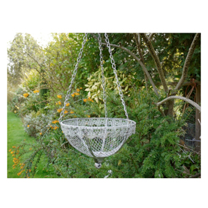 Vintage Grey Metal Hanging Basket