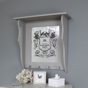 Vintage Grey Wooden Wall Mounted Mirrored Shelf with Hooks