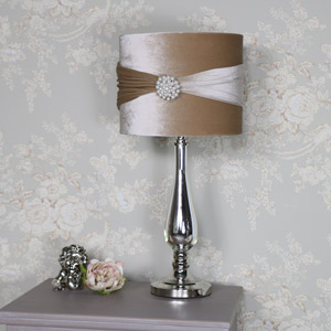 Vintage Silver Chrome and Glass Table Lamp with Cream Shade