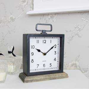 Vintage Style Mantel Clock on Wooden Plinth