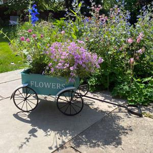 Vintage Teal Planter Cart