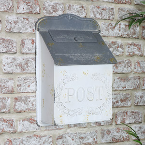 Vintage White & Grey Wall Mounted Metal Post Box