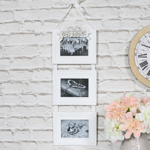 Vintage White Triple Photograph Frame