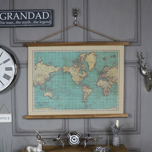 Vintage World Map Hanging Canvas Print