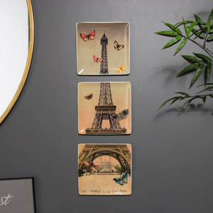 Wall Mounted Eiffel Tower Plate Set