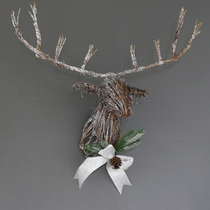 Wall Mounted Glittery Rattan Christmas Stag Head