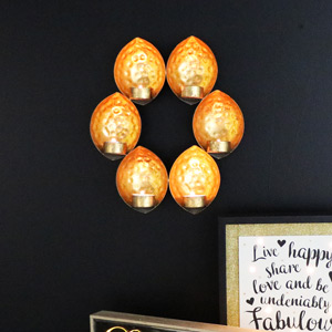 Wall Mounted Gold Sconce Tealight Holder