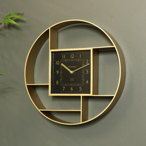 Wall Mounted Gold Shelving Unit with Clock