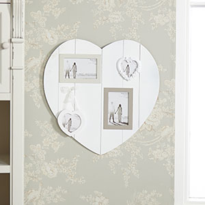 Wall Mounted White Heart Multi Photo Frame
