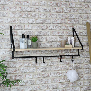Black Metal Frame Wall Shelf with Hanging Hooks