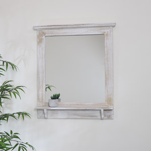 Washed Wooden Frame Wall Mirror 62cm x 70cm
