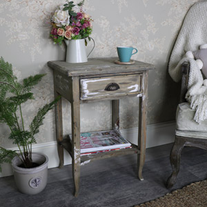 Weathered 1 Drawer Bedside/Lamp Table – Walden Range