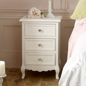 White 3 Drawer Bedside Table - Victoria Range