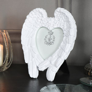 White Angel Wings Heart Photograph Frame