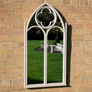 White Arch Gothic Window Mirror 54cm x 103cm