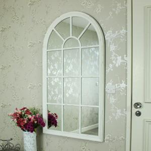 White Arched Window Mirror