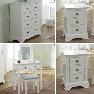 White Bedroom furniture, Chest of Drawers, Dressing Table Set & Bedside Tables - Davenport White Range