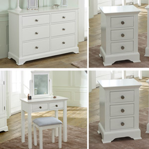 White Bedroom Furniture, Large White Chest of Drawers, Dressing Table Set & Bedside Tables - Davenport White Range