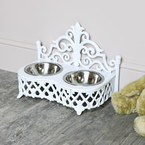 White Cast Iron Dog Food Bowls