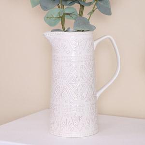 White Ceramic Patterned Jug