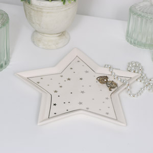 White Ceramic Star Trinket Dish - Small