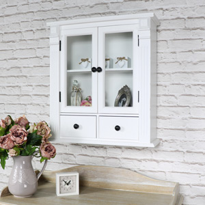 White Glazed Bathroom Wall Cabinet / Display Cabinet
