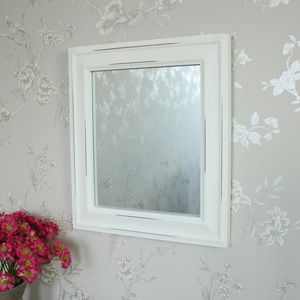 Antique White Distressed Wall Mirror 49cm x 43cm