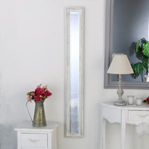 White Distressed Wall Mounted Narrow Mirror
