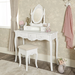 White Dressing Table, Mirror & Stool Set - Jolie Range