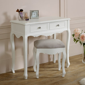 White Dressing Table & Stool Set - Victoria Range