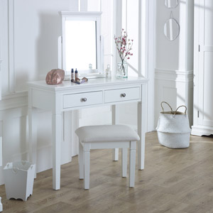 White Dressing Table, Vanity Mirror & Stool Set - Newbury White Range