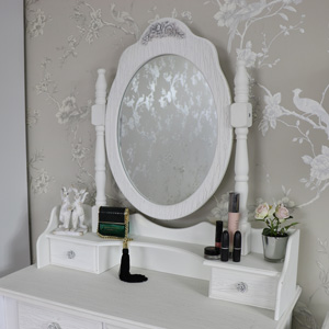 Ornate White Freestanding Tabletop Vanity Mirror with Trinket Drawers