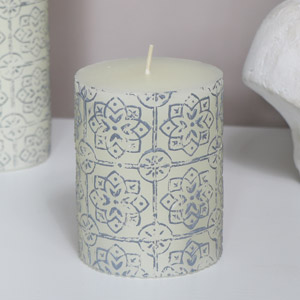 White Embossed Pillar Candle