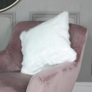 White Faux Fur Scatter Cushion