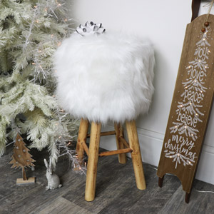 White Faux Fur Upholstered Stool