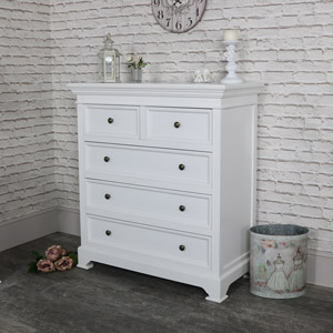 White Five Drawer Chest of Drawers - Daventry White Range