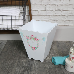White Pretty Wooden Floral Waste Paper Bin