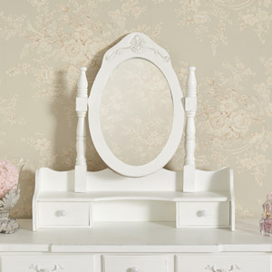 White Freestanding Tabletop Vanity Mirror - Jolie Range